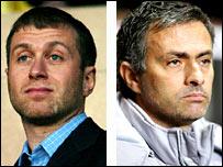 Roman Abramovich (left) and Jose Mourinho