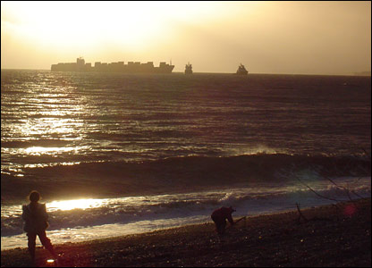 View of MSC Napoli from Branscombe beach
