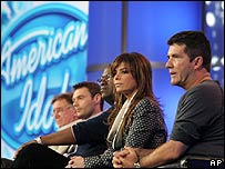 American Idol producers and judges including Simon Cowell (right)