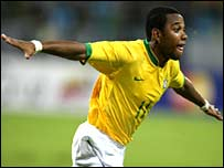 Brazil's Robinho is on course to equal Pele's 1959 record of eight goals