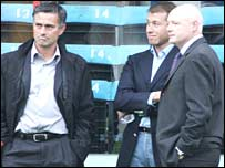 Chelsea manager Jose Mourinho, owner Roman Abramovich and chief executive Peter Kenyon