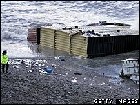 Shipping containers washed up on the beach at Branscombe, Devon
