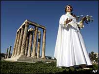 Female priestess with an olive tree branch at the Temple of Olympian Zeus, Athens
