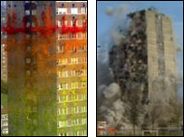 The flats as they appeared in the advert and under demolition