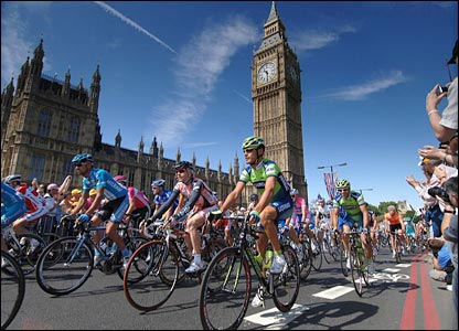 Riders go past Big Ben