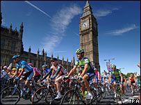 Cyclists pass Big Ben on their way to Greenwich