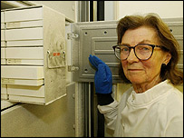 "Dame Anne McLaren at the Natural History Museum in London, with DNA samples from endangered species stored in a 'frozen ark""."
