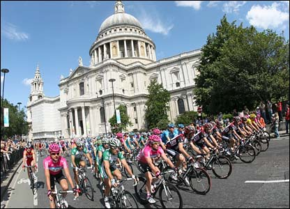 The riders pass St Paul's