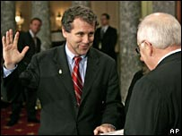 US Senator Sherrod Brown being sworn in