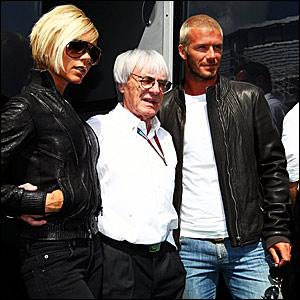 (l-r) Victoria Beckham, F1 supremo Bernie Ecclestone and David Beckham