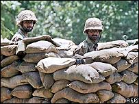 Pakistani soldiers man barricades