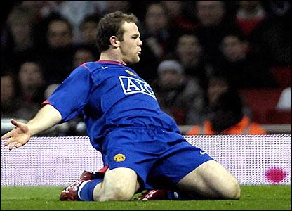 Wayne Rooney celebrates scoring for Manchester United