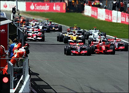 Lewis Hamilton leads into the first corner