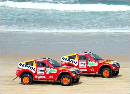 Mitsubishi's Stephane Peterhansel and team-mate Luc Alphand.