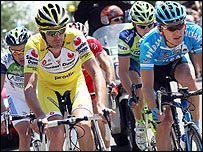 David Millar leads a Tour de France breakaway