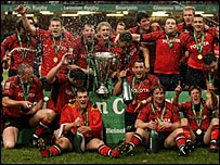 Munster celebrate winning the Heineken Cup at the Millennium Stadium last year