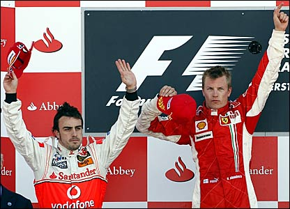(l-r) Fernando Alonso and Kimi Raikkonen