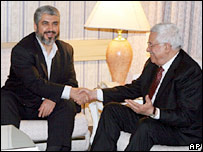 Khaled Meshaal and Mahmoud Abbas meet in Damascus, 21 January 2007