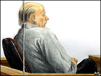 Sketch of Robert Pickton in court 11/12/2006