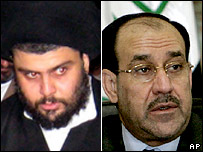 Moqtada Sadr and Nouri Maliki (right)