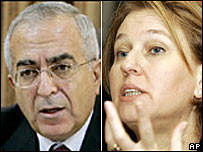 Palestinian Prime Minister Salam Fayyad and Israeli FM Tzipi Livni