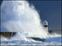 "Barbara Callister: ""This picture was taken at high tide in Castletown. I had a hard job standing against the wind."""