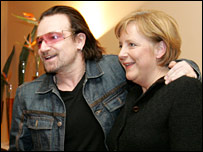 Bono and German Chancellor Angela Merkel in Davos in 2006