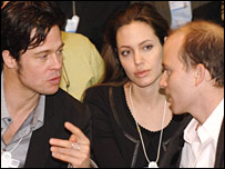 Brad Pit and Angelina Jolie at the World Economic Forum in 2006