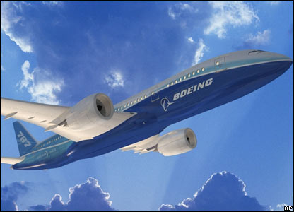 An artist's impression of how the Dreamliner will look in flight