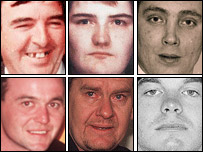 Some of the victims were: Top row: Eamon Fox, Sharon McKenna, Thomas Shepherd; Bottom Row:  Gary Convey, Tommy English, Raymond McCord Jnr