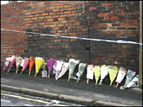 Floral tributes to victims of Hanley factory fire