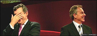 Gordon Brown, left, and Tony Blair, right