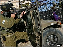 Israeli soldier in the occupied Palestinian territories