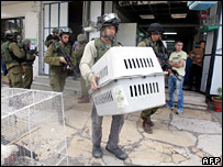 Palestinians look on as Israeli soldiers raid a pet shop in Hebron