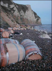 Barrels on beach