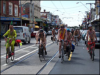 Participants in the World Naked Bike Ride in Melbourne in 2006