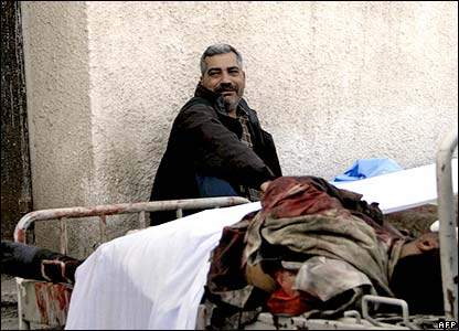 A man at a Baghdad hospital