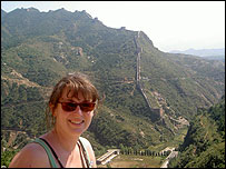 Barbara at Great Wall of China (pic from Centre of Alternative Technology)