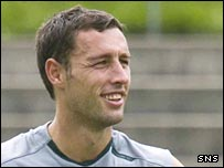 Scott McDonald shows his delight during training