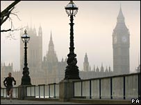 Houses of Parliament in London fog