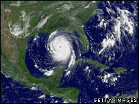 A satellite image of Hurricane Katrina off the coast of Florida