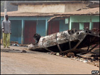 Wrecked car in Conakry
