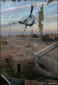 Bullet-proof glass hit by insurgent sniper at a US observation post in Iraq's Anbar province
