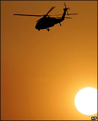 A US Black Hawk helicopter over Baghdad
