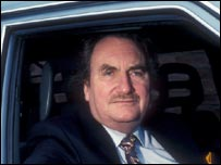 Harvey-Jones seated in car