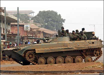 Soldiers in an armoured vehicle prepare to face protesters in Conakry
