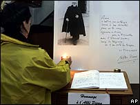A book of condolence at the Emmaus Community in Geneva, Switzerland