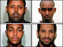 Muktar Ibrahim, 29, Yassin Omar, 26, Ramzi Mohammed, 25, and Hussain Osman, 28, were convicted at Woolwich Crown Court of conspiracy to murder