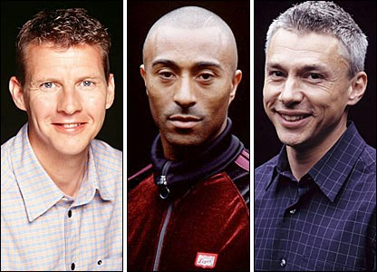 BBC Sport presenters (left to right) Steve Cram, Colin Jackson and Jonathan Edwards