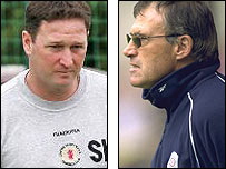 Crewe first-team coach Steve Holland (left) and manager Dario Gradi